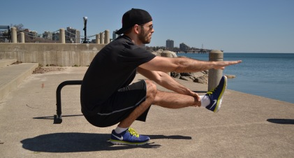 Pistol squat and hamstring stretch combo